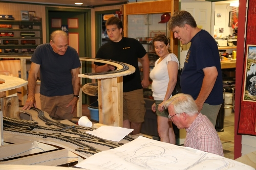 Chicagoland Lionel Railroad Club Lionel Club Ambassador Open House July 9 2016 discusses the progress on the new layout