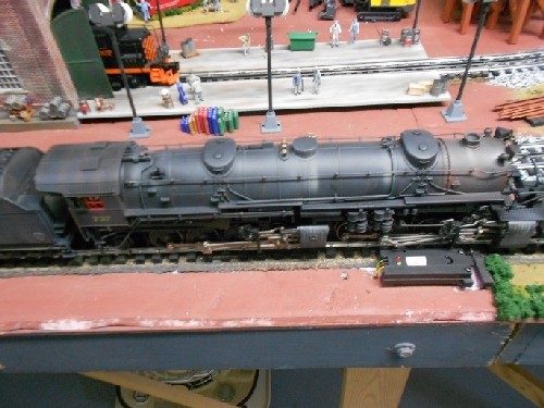 Showing off Lionels Weathered locomotive 6-82486 on the layout for the product review done by the TMB Model Train Club Lionel Club Ambassador