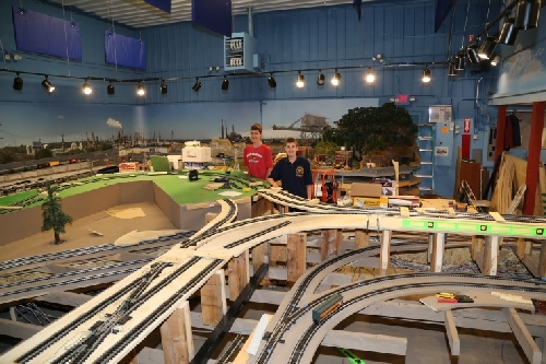 Chicagoland Lionel Railroad Club Lionel Club Ambassador Open House July 9 2016 show Scouts the intricate track plan on the new layout