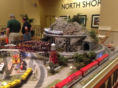 Lionel ran multiple trains sets on the layout at the 45th Annual Lionel Collectors Club of American Convention
