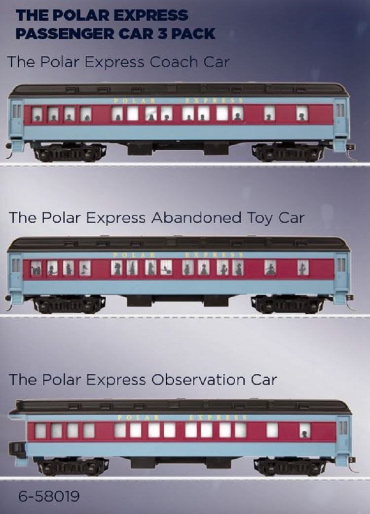 Lionel The Polar Express in HO scale 3 Pack Passenger Cars 6-58019