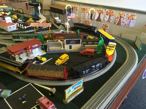 At the St Adelaide Church Festival there is plenty to see including all kinds of accessories as trains go down the track on The TTOS Southern Pacific Division Lionel Club Ambassador layout