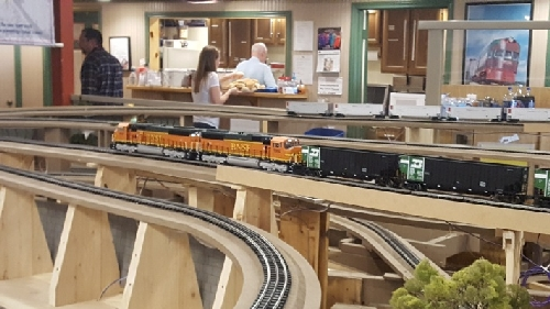 The BNSF locomotives are running on the layout at the Chicagoland Lionel Railroad Club Lionel Club Ambassador Open House in October 2016
