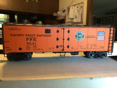 On of the Lionel PFE 5841 Steel Sided Reefer reviewed by the Wichita Toy Train Club Lionel Club Ambassador