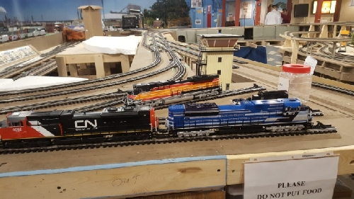 CLRC Lionel Club Ambassador has the Canadian National Southern Pacific and Electromotive diesels locomotives waitng on the layout at the October 2016 Open House