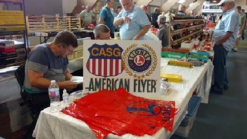 June 5 2016 CLUB AMBASSADORS TO LIONEL CASG sets up at the The Great Midwest Train Show in June 2016