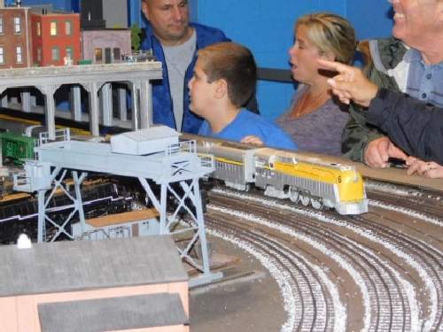 The amazing train layout built by the NLOE Lionel Club Ambassador was visited by families at the October 2016 Open House and saw