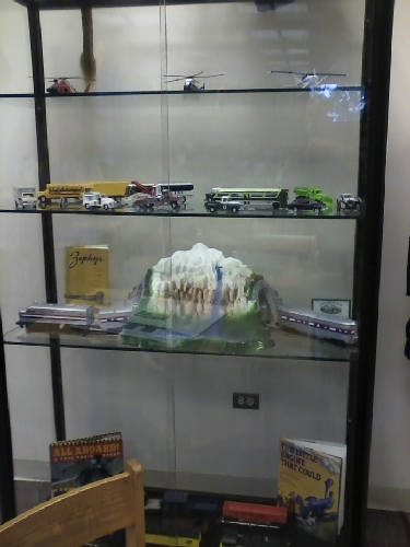 Module train dsiplay located at The Chicago Public Library - Bessie Coleman Branch shows Amtrak trains contributed by the Chicagoland Lionel Railroad Club Lionel Club Ambassador