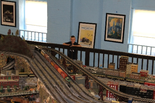 Brandon operates the Norfolk Southern SD70 at the NJ HiRailers Model Railroad Club  Lionel Club Ambassador wihile visitng his grandfather