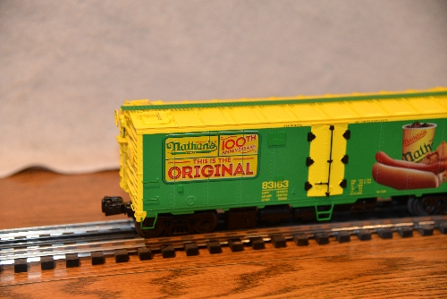 Lionel Club Ambassador New Jersey Hi-Railers Company Logo view of the 6-58266 NLOE Nathans 100yrs Anniversary Reefer 83163