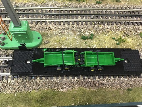 Top view of the John Deere Flatcar with 2 John Deere spreaders 6-83238  reviewed by The Wichita Toy Train Club a Lionel Club Ambassador