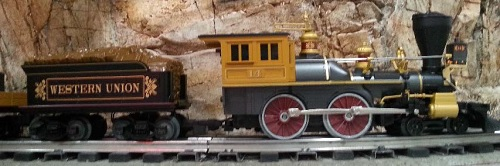 A side view of The Western Union Telegraph locomotive from 6-81264 described in the product review by The Toy Train Operating Society  Silver State Division Lionel Club Ambassador