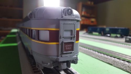 Observation Car with Lackawanna Drumhead in the product review on Lionel Erie Lackawanna Alco PA1 Diesel and Passenger Car Sets by CLRC Lionel Club Ambassador