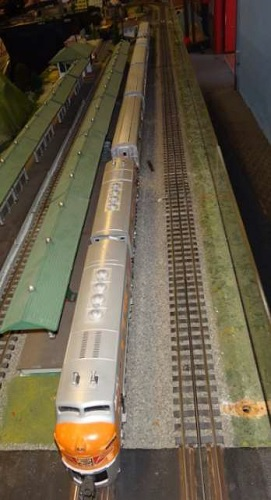 The Western Pacific F3 Locomotives pulling passenger cars as described by the QCHR Lionel Club Ambassador in their product review