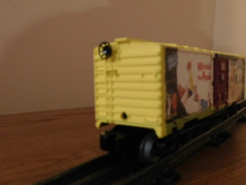Angle view of the Winnie the Pooh 50th Anniversary Boxcar 6-82913 in the product review by the NLOE a Lionel Club Ambassador