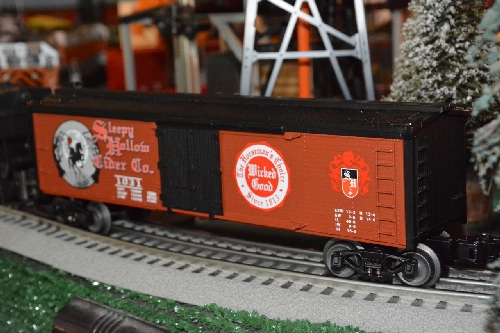 The Sleepy Hollow Halloween Reefer 6-15094 shows an angle view by the TTOS  Southern Pacific Division a Lionel Club Ambassador