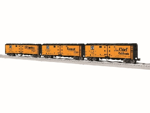 Showing the SFRD Vision Reefer 3-Pack SKU 6-83549 an additonal road name available in the Nassau Lionel Operating Engineers Lionel Club Ambassadors product review