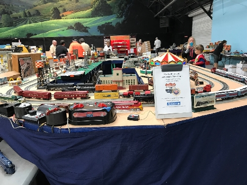 The model train layout is all set up by GGAF Club Lionel Club Ambassador and ready to show case great American Flyer Trains on October 2