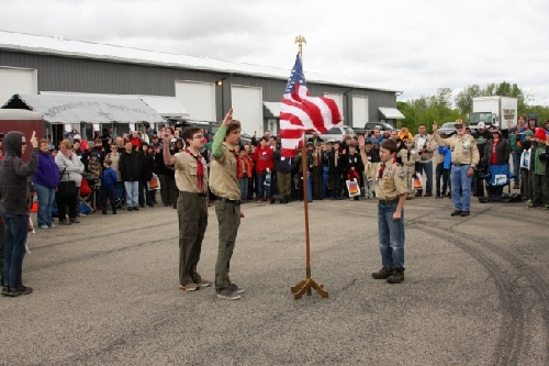 Opening Flag Ceremony with CLRC Ambassadors to Lionel and Boy Scouts of America working on Railroading Merit Badge