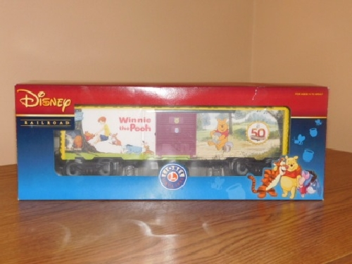 From the product review by Lionel Club Ambassador NLOE the Winnie the Pooh 50th Anniversary Boxcar 6-82913 is shown in Disney decorated packaging by Lionel