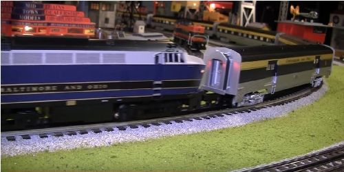 Chicagoland Lionel Railroad Club runs Lionels BO Engines and CO Passenger Cars On their train layout