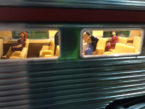 View of female Passengers Close Up from the Lionel Southern Pacific 18 Passenger Car from the New Jersey Hi-Railers Lionel Ambassador Club Review of 6-20005  6-81975