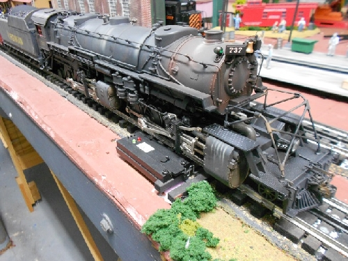 The front end of Lionels Weathered Virginian LEGACY USRA 2-8-8-2 Y-3 Steam Locomotive 6-82486 in the TMB Model Train Club Lionel Club Ambassador product review