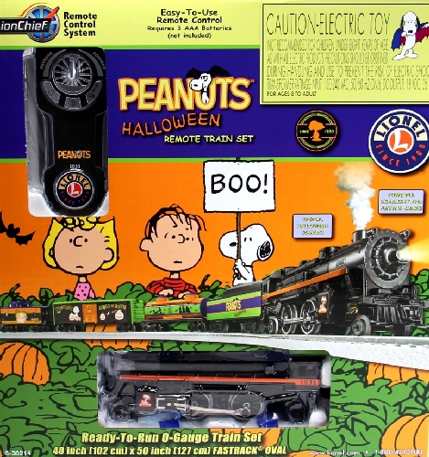 Lionels Peanuts Halloween LionChief Remote Train Set 6-30214 in the Peanuts decorated box as part of the product review by Toy Train Operating Society  Silver State Division Lionel Club Ambassador